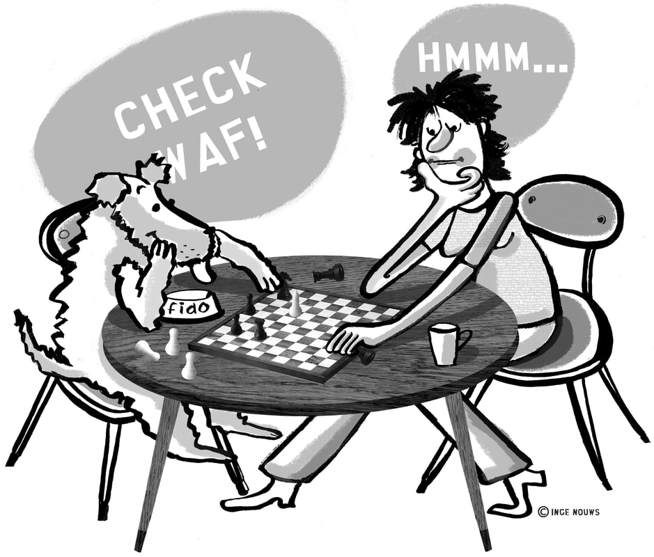 Cartoon of dog and human playing checkers